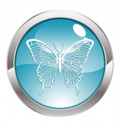 button with butterfly vector image