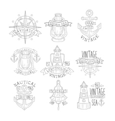 Vintage Sea Collection Black And White Emblems vector image