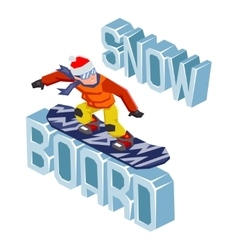 Winter snowboard healthy resort polygonal text vector