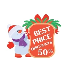 Best price discounts 50 snowman with sale poster vector