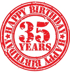 Grunge 35 years happy birthday rubber stamp vector