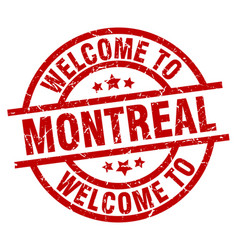 Welcome to montreal red stamp vector