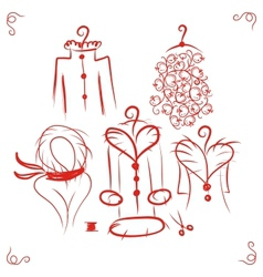 Coats on hangers sketch for your design vector image