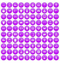 100 logistic and delivery icons set purple vector image