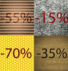 15 70 35 icon set of percent discount on abstract vector
