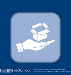 Hand holding a opened cardboard box vector