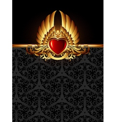 ornate frame with golden heart vector image