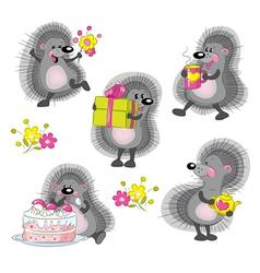 funny cartoon hedgehogs vector image