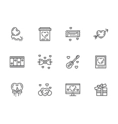 Valentines Day flat line icons set vector image