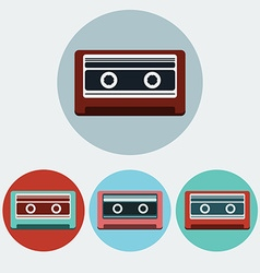 Music tape colorful icon set vector