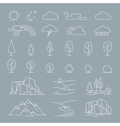 Nature landscape elements icons vector