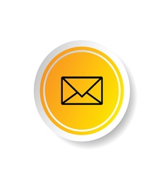 Sticker in yellow color with letter envelope icon vector