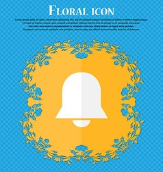 Alarm bell floral flat design on a blue abstract vector