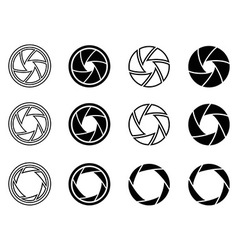 Camera shutter aperture icons vector image