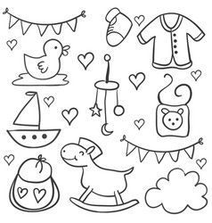 Collection of baby object doodles vector