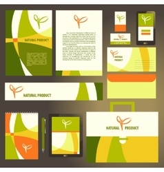 Corporate identity template set natural product vector