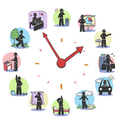 daily routine clock characters concept vector image