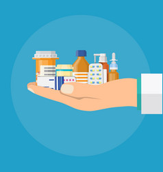 Different medical pills and bottles in hand vector