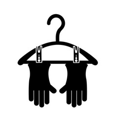 Drying hook with gloves laundry icon vector