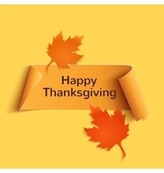 Happy thanksgiving yellow curved banner vector