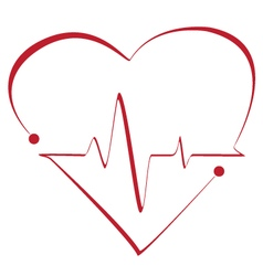 Heart cardiogram with heart on it vector