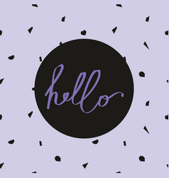 Hello on a violet abstract seamless vector