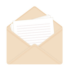 Letter in open beige envelope vector