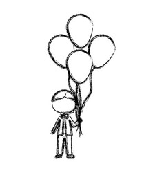 Monochrome sketch of caricature faceless kid with vector