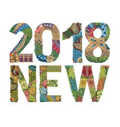 Number 2018 zentangle decorative object vector