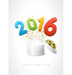 Open gift box and 2016 happy new year message vector image vector image