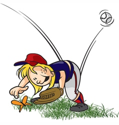 outfielder and bug vector image vector image