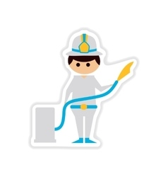 Paper sticker on white background male firefighter vector