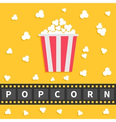 Popcorn popping Big film strip line with text Red vector image