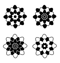set of black and white isolated flower icons vector image