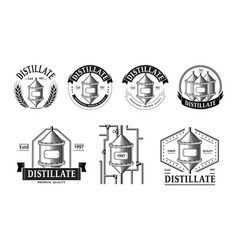 Set of distillery production icons vector