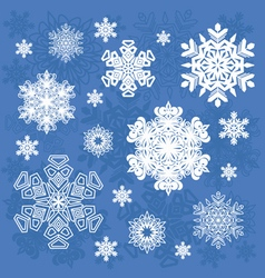 Set of snowflakes isolated objects vector image