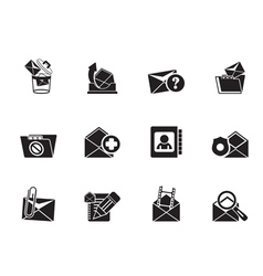 Silhouette e-mail and message icons vector
