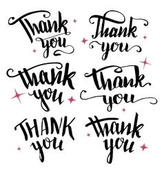 Thank you calligraphy collection vector