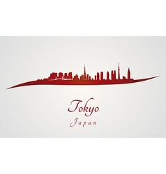Tokyo skyline in red vector image vector image