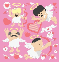 Valentines day cartoon cupid vector