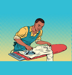 vintage employee ironed clothes vector image