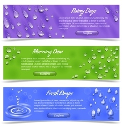 Water drop banner set vector