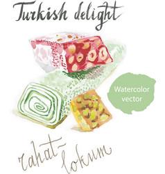 Watercolor turkish rahat-lokum vector