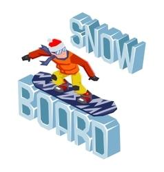 Winter snowboard healthy resort polygonal text vector