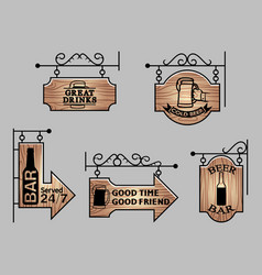 wood bar signage vector image