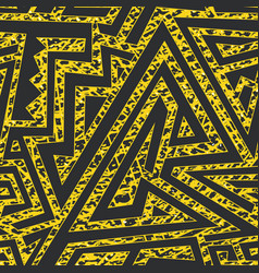 Yellow grunge maze seamless pattern vector