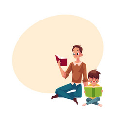 young man and little boy reading books sitting vector image vector image