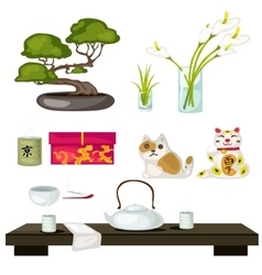 Eastern symbols and feng shui tea ceremony vector