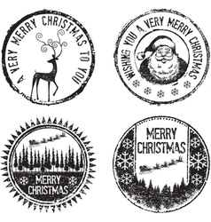 Merry xmas stamps vector