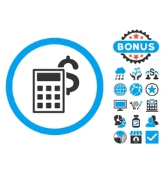 Business calculator flat icon with bonus vector